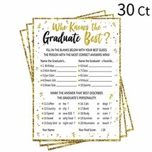 30Ct Who Knows Graduate Best Graduation Game Cards 2019 - Grad Party Sup... - $13.47
