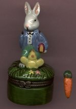 BUNNY RABBIT WITH BIRD HINGED BOX - £8.48 GBP