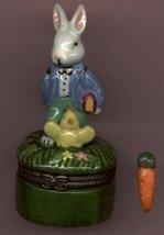 BUNNY RABBIT WITH BIRD HINGED BOX - £8.45 GBP