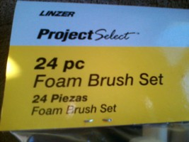 *NEW*PROJECT SELECT 24 Piece Foam Brush Set  (4 Different Sizes) Wood Ha... - $14.01