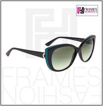 BVLGARI LOGO BV8169Q Black Green Leather Gradient Cat Eye Sunglasses Gold 8169 image 5