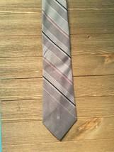 Vtg Pierre Cardin Logo Men Tie Stripe Skinny Necktie Gray - $7.91