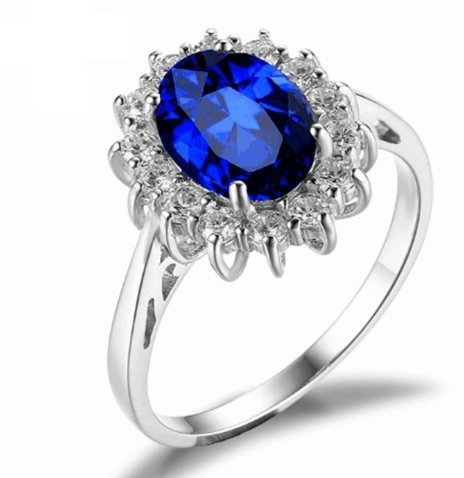 925 Sterling Silver Natural Fine Quality Blue Sapphire Glass Field Gemstone Hand