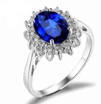 925 Sterling Silver Natural Fine Quality Blue Sapphire Glass Field Gemstone Hand image 1