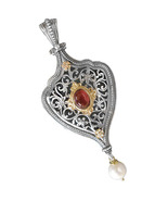 Gerochristo 3236 -Gold, Silver & Stones - Byzantine Medieval Large Pendant  - $1,030.00