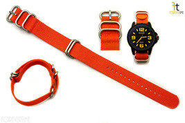 22mm Compatible  Luminox Nylon Woven Orange Watch Band 4 Stainless Steel Rings  - $22.95