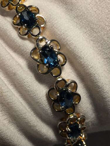 Vintage Genuine Deep London Blue Topaz 925 Sterling Silver Deco Tennis Bracelet
