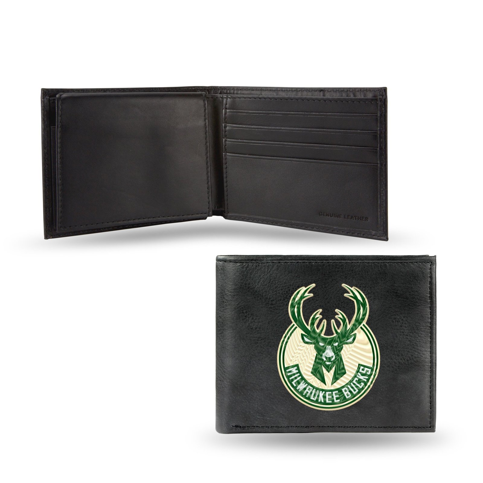 Milwaukee Bucks Wallet Embroidered Billfold Official NBA RICO Leather Black