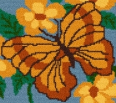 Latch Hook Rug Pattern Chart: Butterfly Floral -EMAIL2u - $5.75