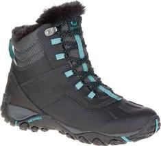 MERRELL ATMOST MID WOMEN'S BLACK/BLUE WATERPROOF BOOTS #J324906C - £64.58 GBP