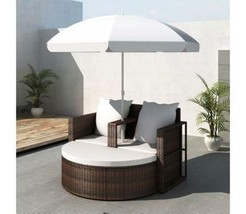 Outdoor Rattan Lounge With Parasol Garden Sofa Set Patio Lounger Chair C... - $301.95
