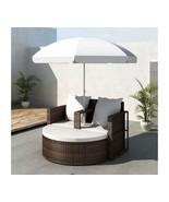 Outdoor Rattan Lounge With Parasol Garden Sofa Set Patio Lounger Chair C... - $301.95