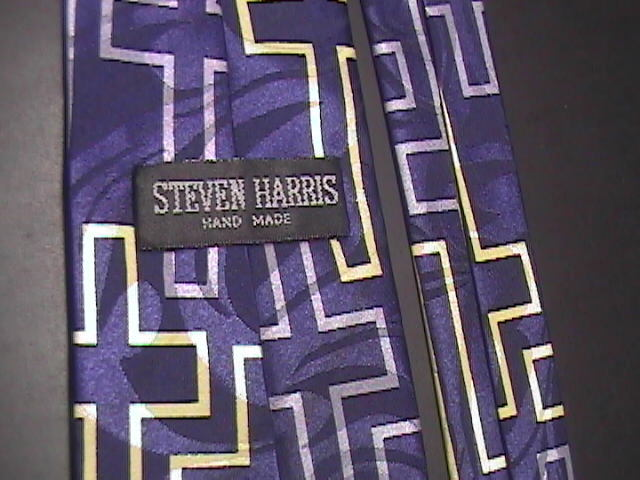 Steven Harris Neck Tie Jesus Footsteps on Mutiple Cross & Bright Blue Background