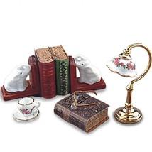 Dollhouse Desktop Set Reutter 1.876/6 Lamp Elephant Book Ends Tea Cup Miniature - $42.72