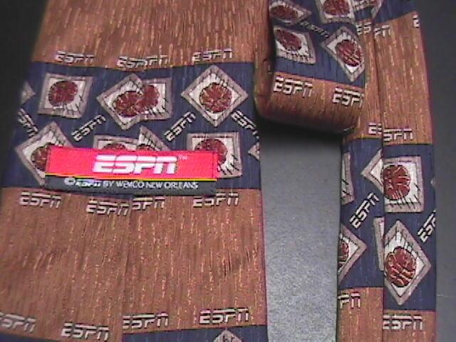 ESPN Neck Tie Basketball Brown and Blue Silk