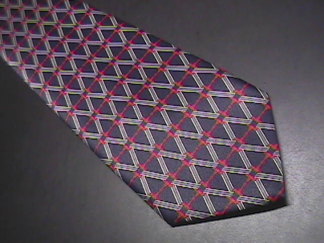 Rene Chagal Neck Tie Handmade Silk Blue and Red