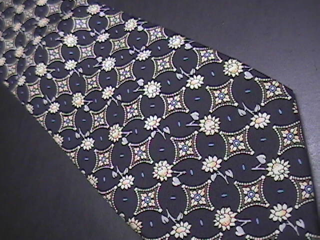 Rene Chagal Neck Tie Black with Gold Flowers Hand Made Silk