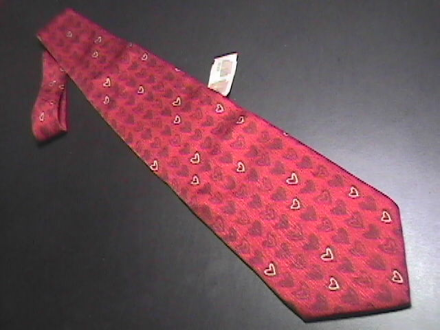 Structure Mens Dress Neck Tie Bright Red Hearts Against Red Unworn Paper Tag