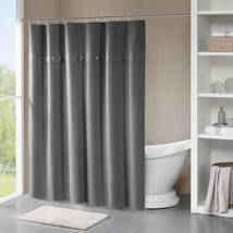 "Luxury Grey Cotton Waffle Weave Textured Shower Curtain - 72x72"" - $54.14"