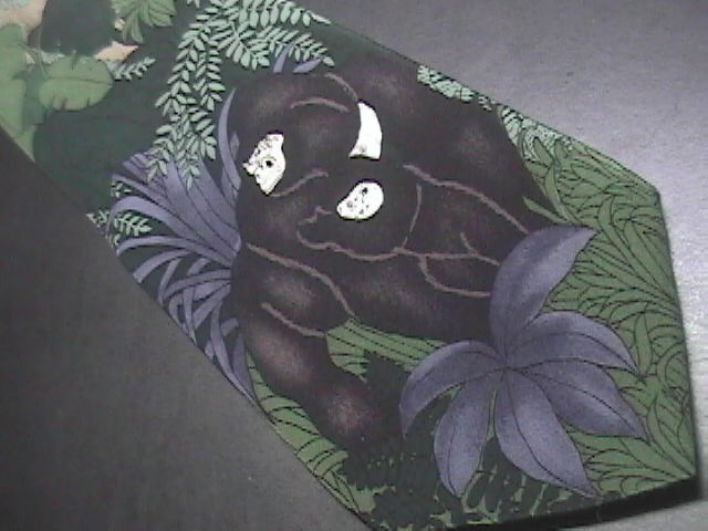 WWF World WildLife Fund Neck Tie Mountain Gorillas Purples Greens Design 129