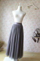 PLUS SIZE Gray Full Long Tulle Skirt Adult Gray Wedding Bridesmaid Skirt Dress image 3