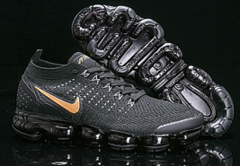 Original Nike Air Vapormax Flyknit 2.0 Men's Running Shoes Black/Gold - $129.19+
