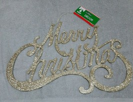 Christmas House Merry  Christmas Decor Gold Glitter - $13.81