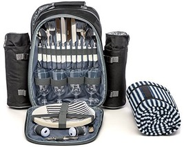 Picnic Backpack for 4 by Mister Alfresco, Stylish Black Color With Insul... - $70.35