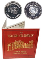 Dominican 10 Pesos,2.45g Silver Coin,2000,KM# 91,Mint,Iglesias,St. Andrews - $29.99