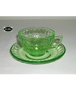Thumbprint Green Cup And Saucer Federal - $9.95