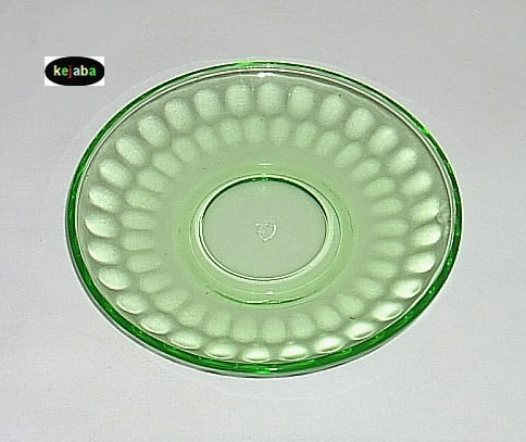 Thumbprint Green Cup And Saucer Federal