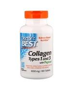 Doctor's Best, Colágeno, Tipos 1 y 3 con Peptan, 1000 mg, 180 Tabletas - $22.00