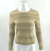 Anne Klein Cashmere Sweater Small Green Beige Blue Striped Pullover Long... - $39.60
