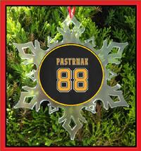 Pastrnak Jersey Christmas Ornament - X-MAS Snowflake - Boston Hockey - $12.95