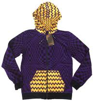 UGP Under Ground Products DIY Men's Purple Yellow Checkered Zip Up Hoodie NWT