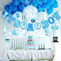 30PCS Baby Shower Its A BOY Birthday Party Swirl Hanging Decorations Kit... - £13.45 GBP