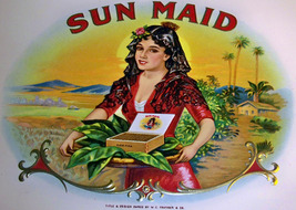 Sun Maid Embossed Inner Cigar Label, 1920's - $7.99