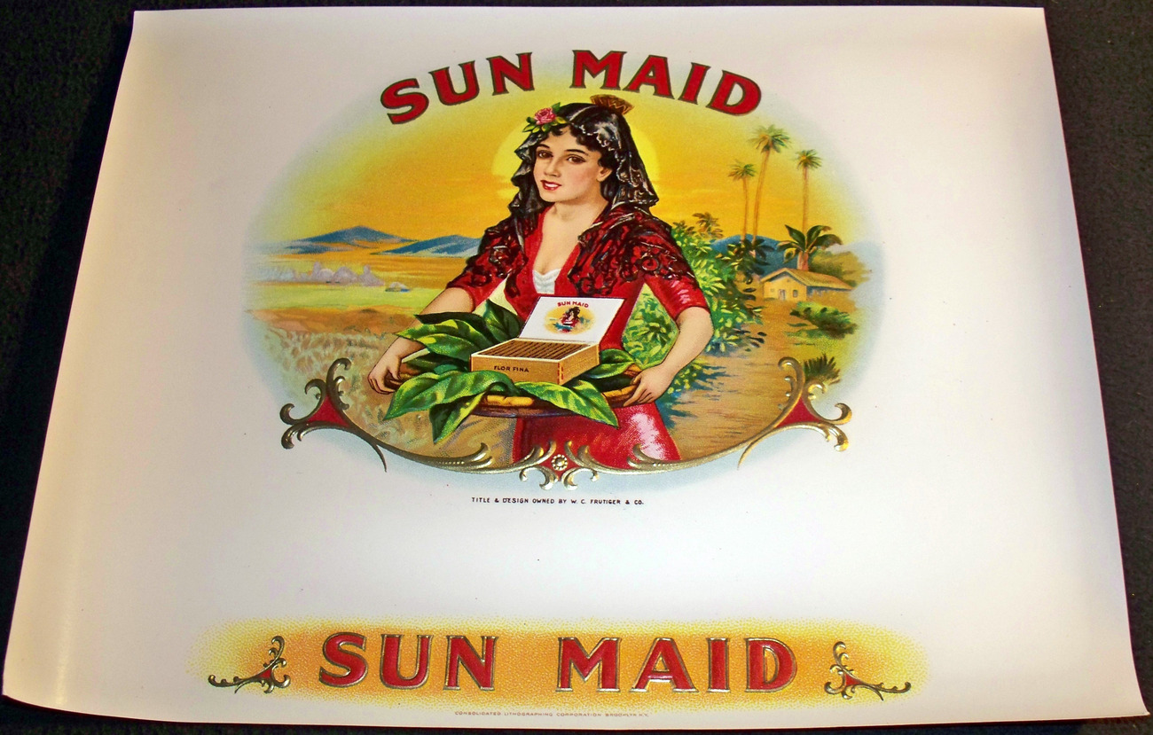 Sun Maid Embossed Inner Cigar Label, 1920's