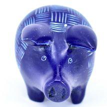 Tabaka Chigware Hand Carved Kisii Soapstone Dark Blue Pig Figure Made in Kenya image 5