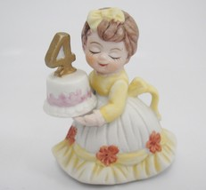 UCGC Figurine Four Year Old Birthday Girl with Cake and Number 4 Yellow ... - $14.84