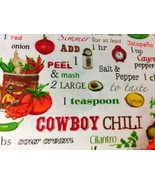 "Cooking Recipe Chili Valance HaNdMaDe Window Topper Cotton fabric 43""W x... - $10.88"