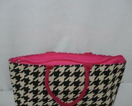 GANZ Brand Style 101 ER39334 Large Burlap Black Cream Purse Pink Handle image 3