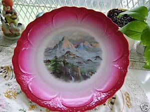 Vintage Wall Plate  with Mountain Scene