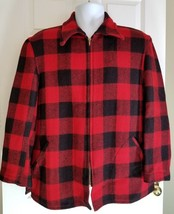 VINTAGE MALEMUTE BRAND 40's RED BLACK PLAID WOOL HUNTING COAT JACKET LAR... - $217.51