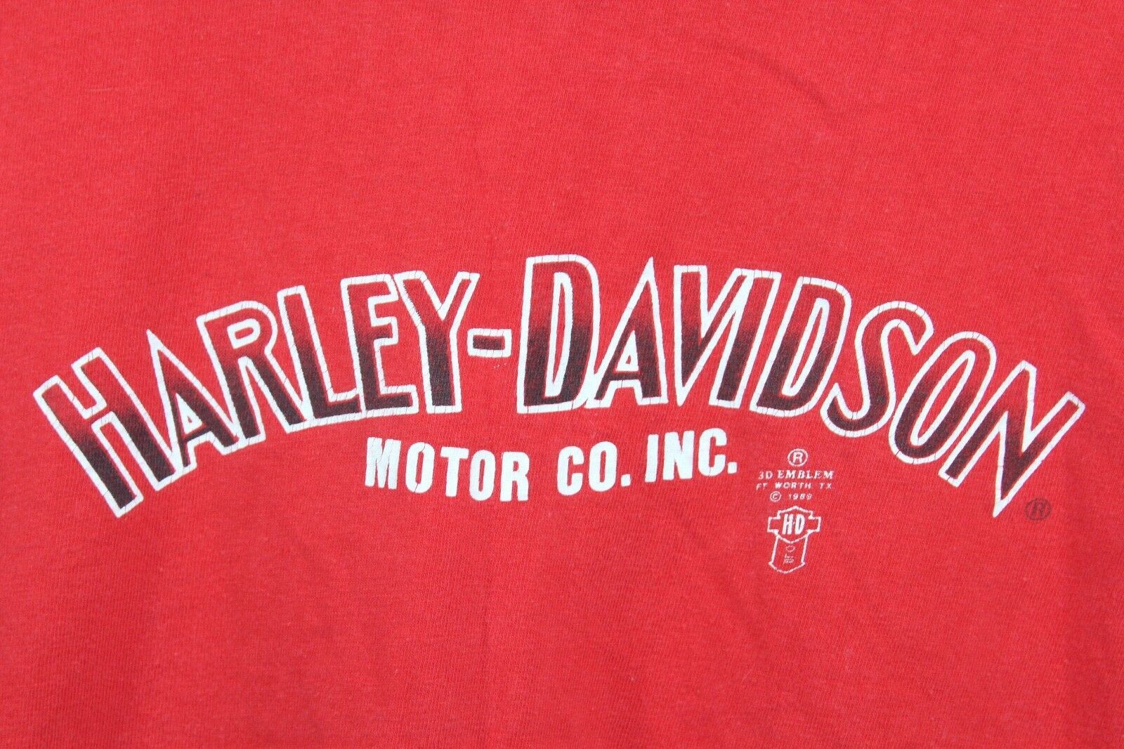 Vintage 80s 3D Emblème Homme Petit Harley Davidson Detroit Chemise Rouge image 2