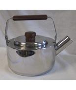 Farberware Model 763 18-8 Stainless Steel Teapot Kettle Wood Handle 1 1/... - $50.00