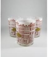 Vintage set of 3 Illustrated designer lowball glasses cocktail glasses b... - $41.58