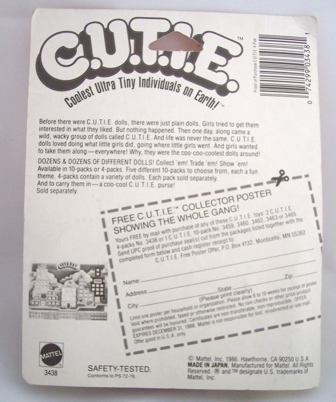 1986 MATTEL C.U.T.I.E. DOLLS New in Package