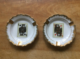 Vintage Napco China Japan Hearts, Diamond Card Poker Ashtrays Trinket Dish - $9.39