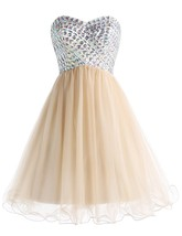 Short Sweetheart 2018 Prom Party Dresses Tulle Beading Homecoming Dresses Corset - $117.00